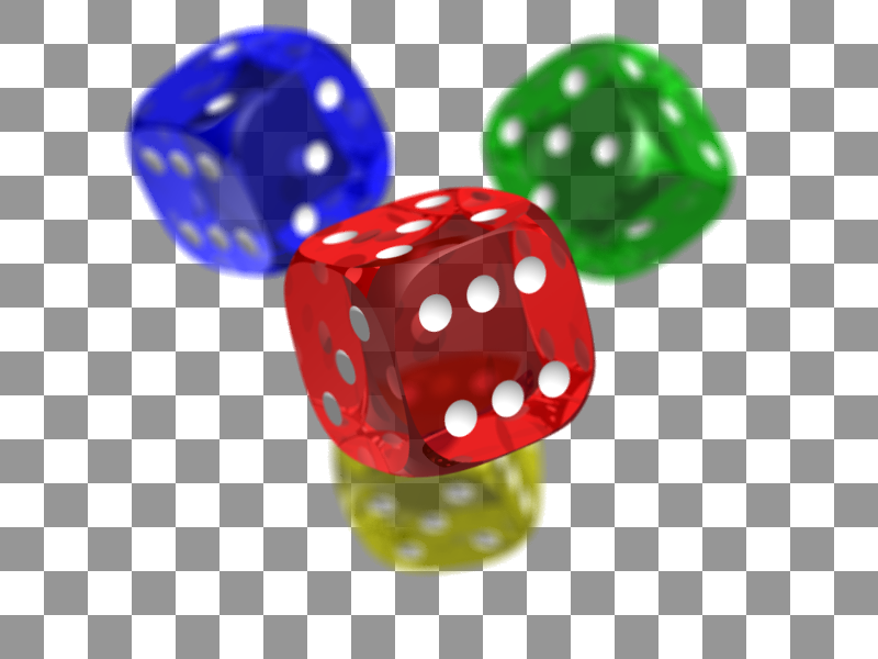 PNG transparency of three dices red blue and green