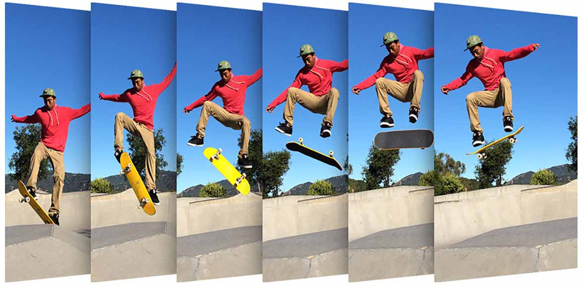 man jumping with a skate board shot in continuous mode burst mode