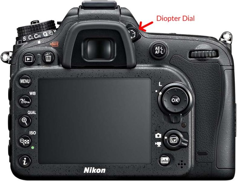 Nikon D7100 back image with the camera diopter clearly marked