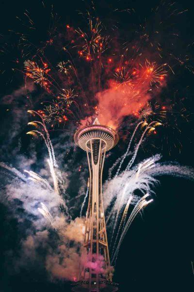 Fireworks near Space Needle, Seattle.