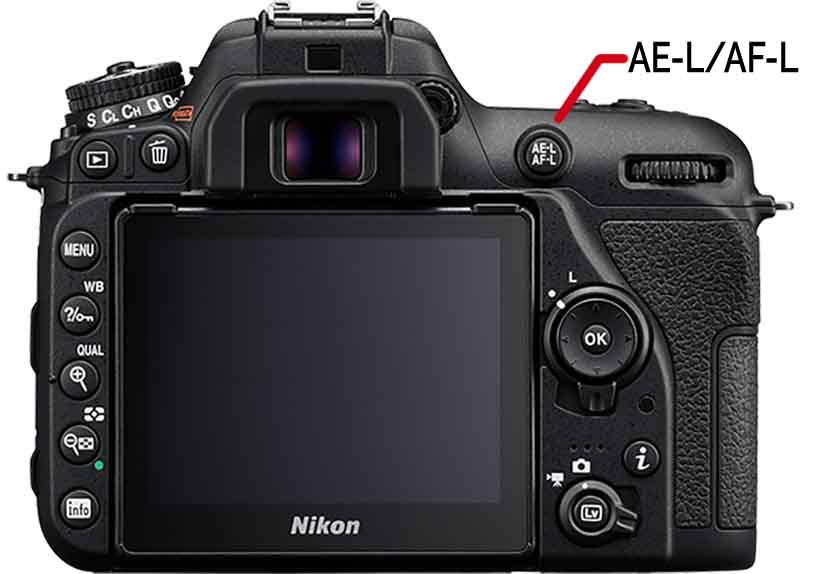 Auto Exposure and AutoFocus AE-L/AF-L button on a Nikon D850