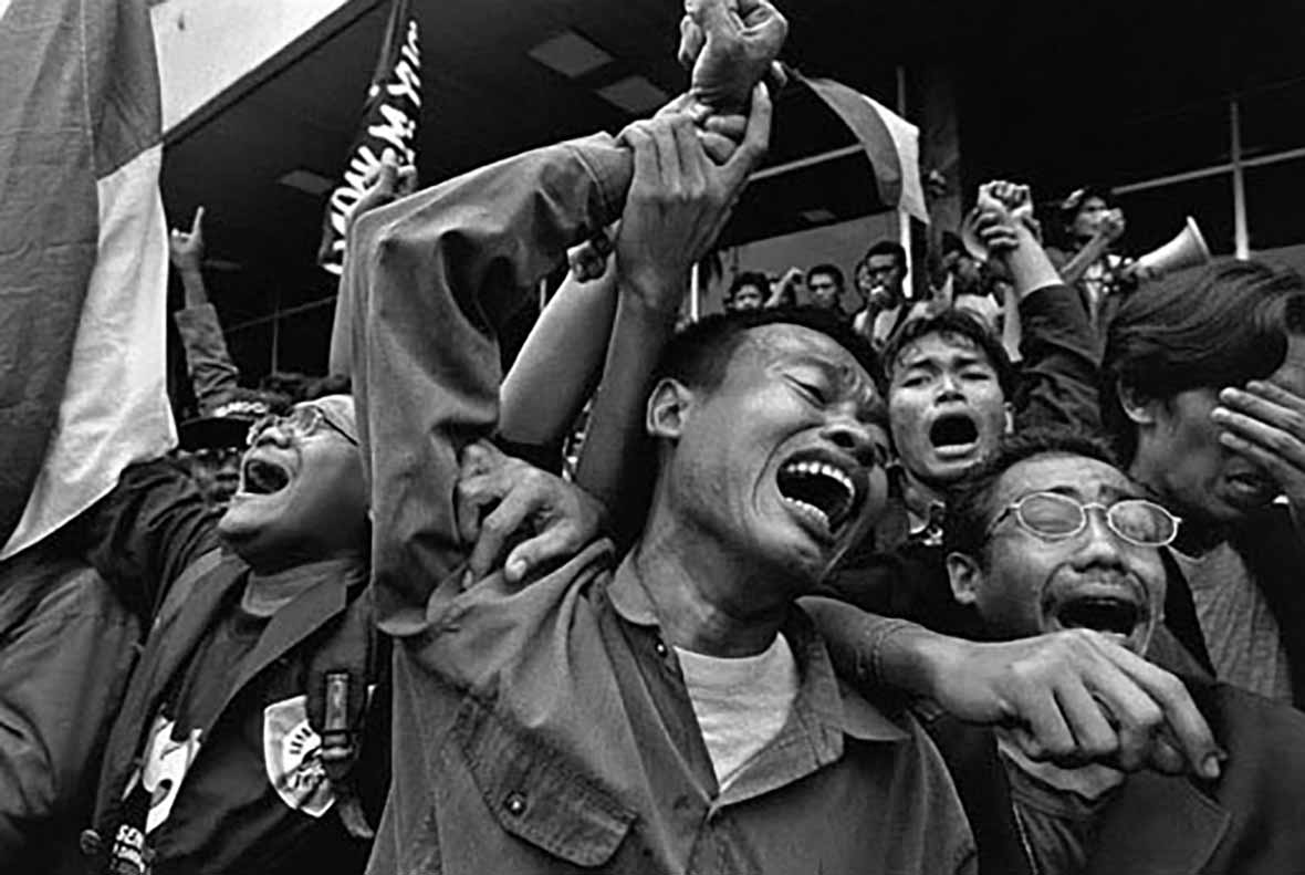 James Nachtwey A Man cries out in anguish in Indonesia after the election