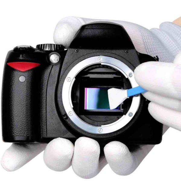 cleaning camera with a sensor swab