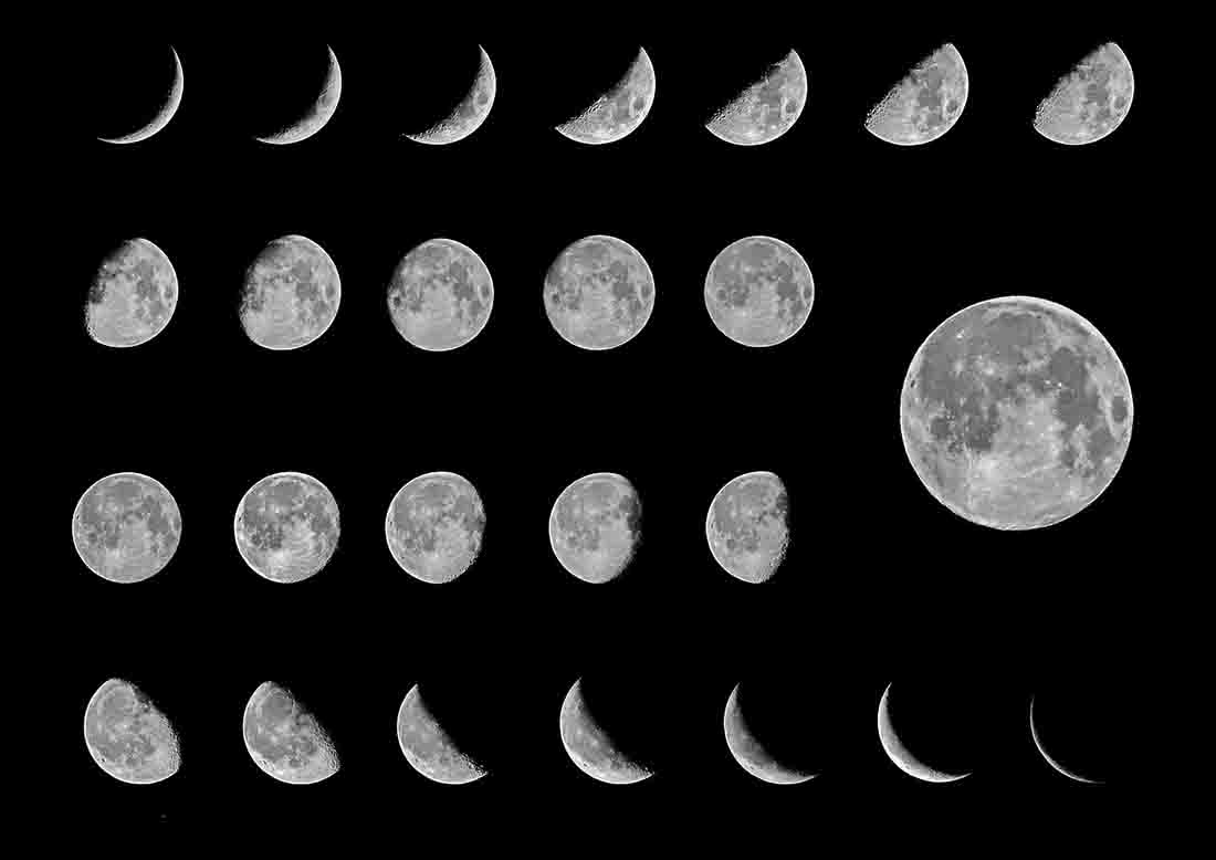 Lunar Phases depicted in one image