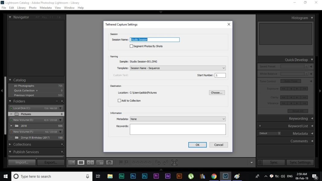 Lightroom tethering image saving process demonstration