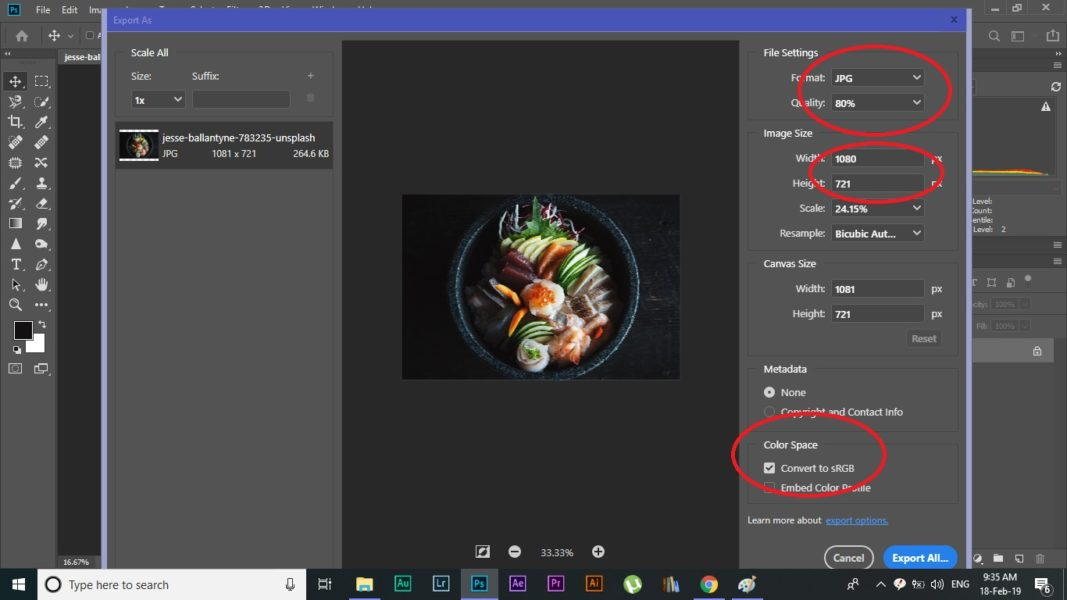 Photoshop CC 2019 best export settings of photograph for instagram