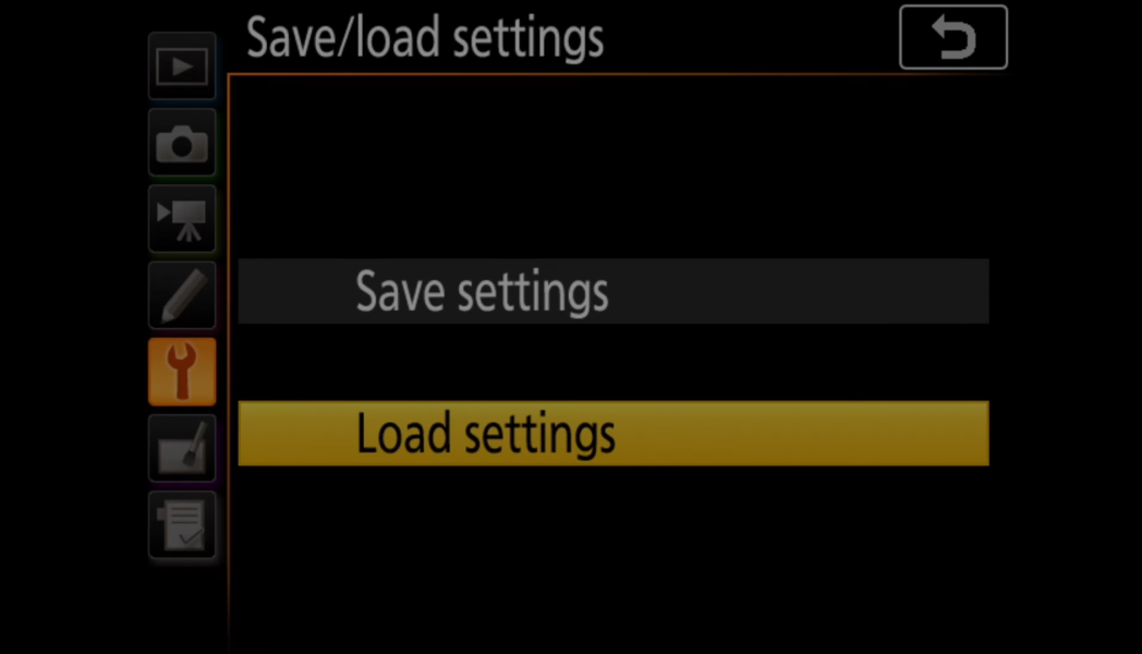Load settings on a Nikon Camera from SD card