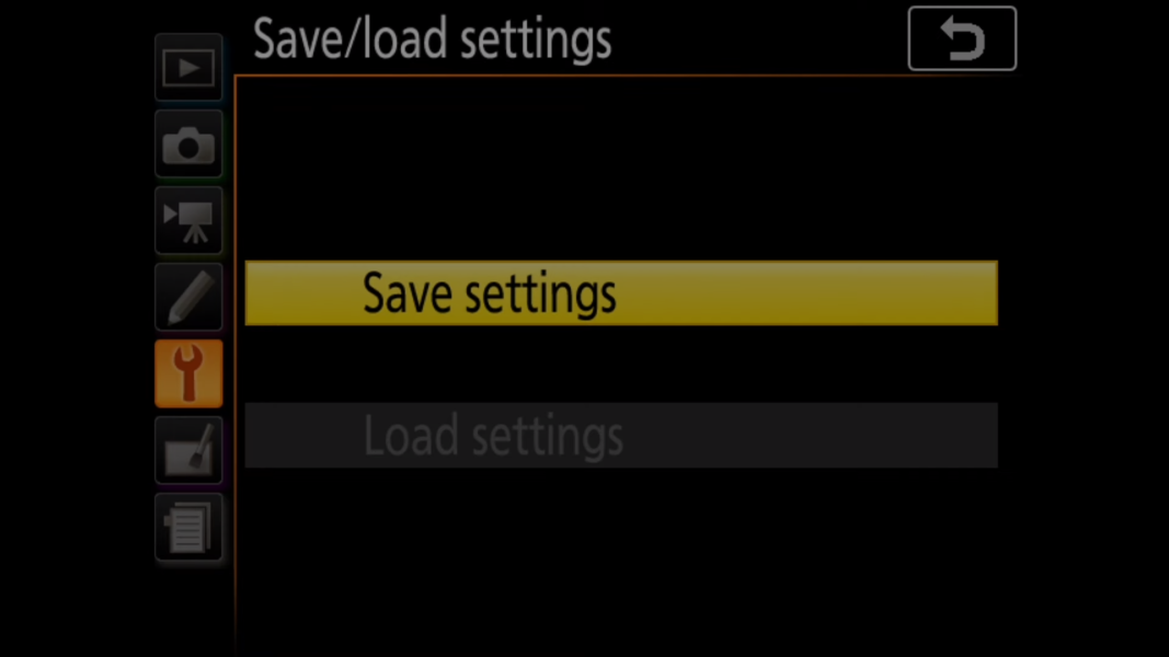 Save settings file on to SD card in a Nikon camera