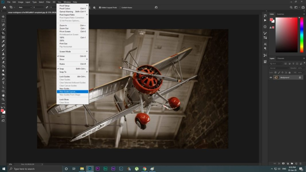Photoshop New Guides Layout Screenshot