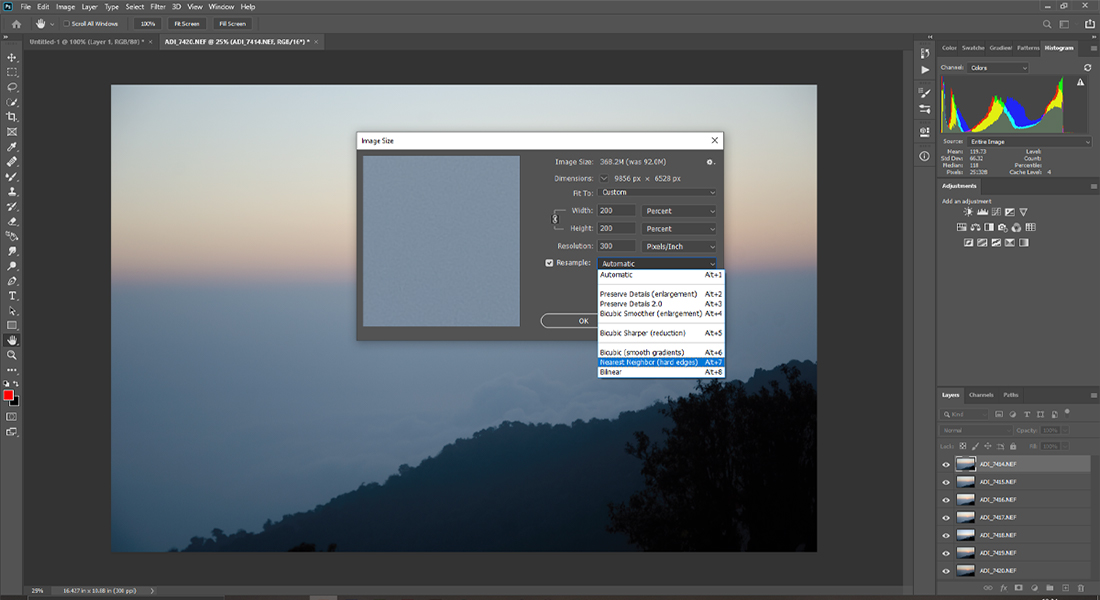 Photoshop Increase Image Size by 200 percnt or four times