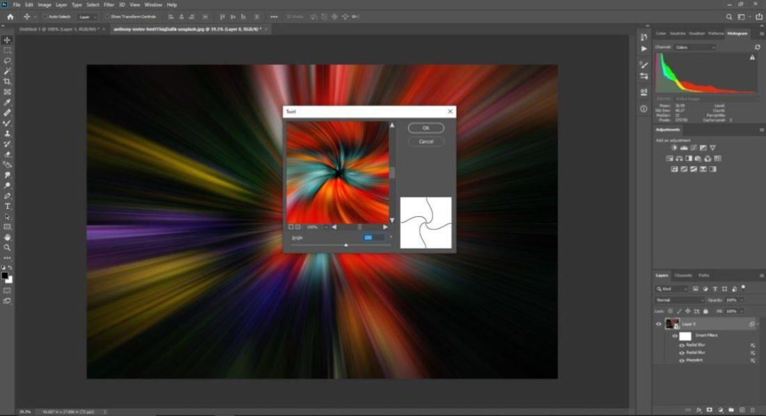 Filter distort twirl