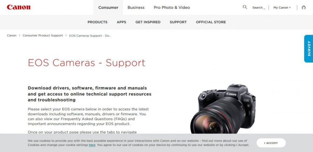 Canon camera firmware download page