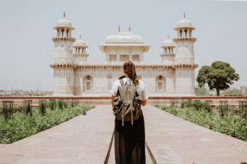 Image of a girl at a tourist spot in India without the people around