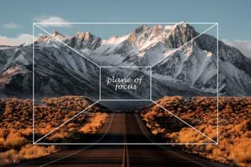 Landscape image of a mountain range explaining the plane of focus